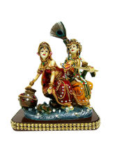 Creativity Centre Radha Krishna With Matki, Multicolor