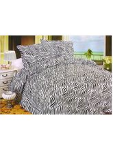 Valtellina Pollycotton Zebra Design Double Bed Sheet, black and white
