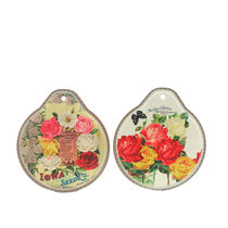 Importwala Rose Collection Ceramic Trivets Wall Hanging Set Of 2, multicolor