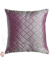 Mauve Pink Quilted Poly Silk Decorative Cushion Cover Set, Mauve