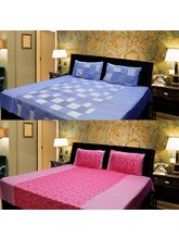 Elegance Cotton 2 Double Bed Sheet With 4 Pillow C...