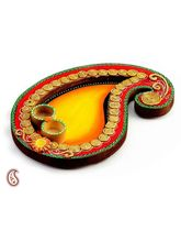 Yellow And Red Keri Design Wood Clay Pooja Thali (Multicolor)
