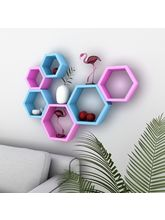 DecorNation Wall Shelf Rack In Beehive Shape Shelves