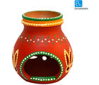 ExclusiveLane Terracotta Handpainted Aroma Diffuser 4 Inch Red (Multicolor)