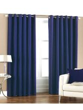 La Elite Eyelet Plain Door Curtain - 1 Pc, Blue