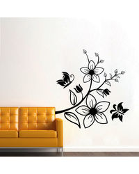 Creative Width Butterfly On Flowers 2 Wall Decal, multicolor, large
