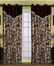 HandloomTrendz Laurel Flower Vine Design Valance Style Window Curtain (CNW244), brown