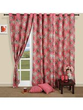 Pink Of Flowers Curtain (Multicolor,Curtain(54 Inch X 60 Inch))