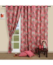 Pink of flowers curtain (Multicolor, Curtain(54 inch x 60 inch))