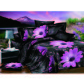 Story King Size Fancy Moon Light View Flowers Impression Double Bed Sheet, black