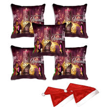 meSleep Set of 5 Christmas Candle Digitally Printed Cushion Cover (16x16) -With 2 Pcs,  purple