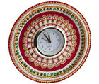 Marvel in Marble - Gold Embossed Kundan work alarm Clock (Multicolor)
