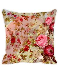 Leaf Designs Taupe & Light Pink Parrot Cushion Cover, multicolor