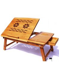 Lakshaya Premium Quality Multifunctional Portable Foldable Wooden Laptop Table Desk with 2 USB Charging Cooling Fans & Tea/Coffee Cup Stand,  brown