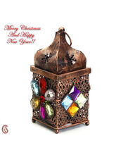 Copper Finish Gun Metal Tea Light Holder With Colored Glass Stone, Multicolor