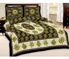 Little India Floral Print Double Bedsheet With Pillow Covers 187, multicolor