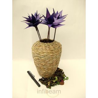 Rope Spike Flower Decor With Belly Vase,Purple (Brown)