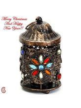 Colored Glass And Gun Metal Tea Light Candle Holder, Multicolor