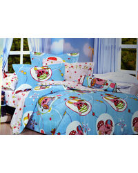 Pompe Kids Gang Single Bedsheet - Piggy Delight - K015, multicolor