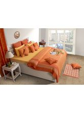House This Delft 1 Double Bedcover & 2 Pillow Covers, orange