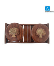 ExclusiveLane Tree Of Life Bowl Set With Tray In Sheesham, Multicolor