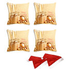 meSleep Set of 4 Christmas Digitally Printed Cushion Cover (16x16) -With Free 2 Pcs,  beige