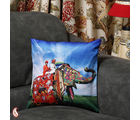 Rajasthani Royal Elephant Velvet Cushion Cover (Multicolor)