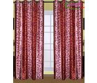 HandloomTrendz Stylish Eyelet Design Door Curtain, maroon