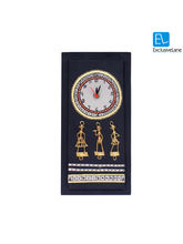 ExclusiveLane Warli Handpainted & Dhokra Work Clock 14* 6 Inch Black, black