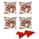 meSleep Set of 4 Christmas Digitally Printed Cushion Cover (16x16) -With Free 2 Pcs,  brown
