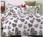Welhouse India Love by heart Fitted Double Bed Sheet with 2 pillow covers, white