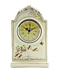 Importwala Vintage Bird Table Clock, off white