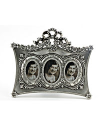 Importwala Bow Triple Photo Frame,  silver