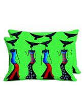 MeSleep Skirt Girls Set Of 2 Pc Digitally Printed Pillow Cover -Size(12x18), Green