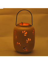 Mini Yellow Ceramic Hanging Enclosed Candle Holder