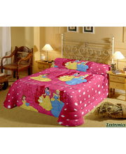 All Over Princess Single Bedsheet With 1 Pillow Cover, multicolor