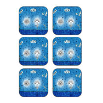 meSleep Abstract Blue Wooden Coaster-Set of 6,  blue