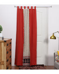 Rang Desi Red Cotton 84 x 48 Inch Bagh Patch Handcrafted And Hand-Embroidered Curtain -,  red