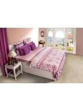 House This Rajasthan 1 Single Bed Sheet & 1 Pillow Cover, pink