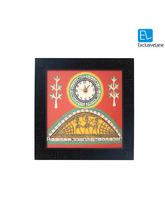 ExclusiveLane Warli Handpainted & Dhokra Work Clock 13* 13 Inch Red, multicolor