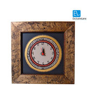 ExclusiveLane Warli Handpainted Clock 9* 9 Inch Black, multicolor