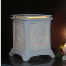 Importwala Budha Face Four Sided Oil Burner, white