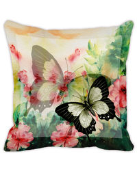 Leaf Designs Light Yellow Butterfly Cushion Cover, multicolor