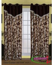 HandloomTrendz Laurel Flower Vine Design Valance Style Door Curtain (CND244), brown