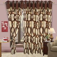 Cortina Fancy Precious 403 7Ft Curtain,  coffee