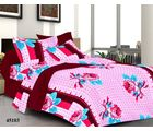 Welhouse India Rose Double Bed Sheet With 2 Pillow Covers, maroon