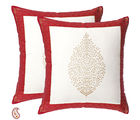 Medallion Gold Print Pure Cotton Cushion Cover Set, multicolor