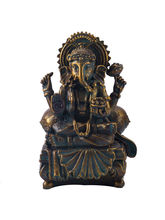 Charming Gold Finish Ganesha Idol Showpiece, Gold