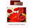 meSleep Canvas painting without frame - Ganesha with Flower and Silver plated Rs. 1000 replica note, multicolor
