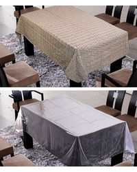 Freely Coffee Cotton Table Cover With Transprant Table Cover For 4 Seaters ( Buy 1 Get 1), multicolor